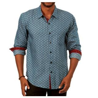 Something Printed Long Sleeve Men's Shirt in Blue