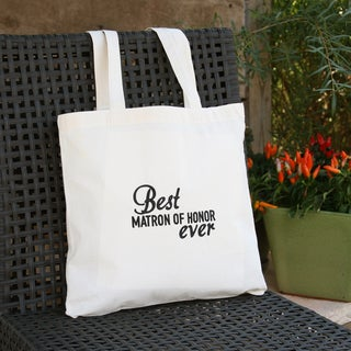 Best Matron of Honor Ever Off-white and Black Cotton Wedding Party Tote Bag