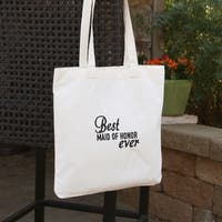 Best Ever Wedding Party Maid of Honor Off-white and Black Cotton Tote Bag