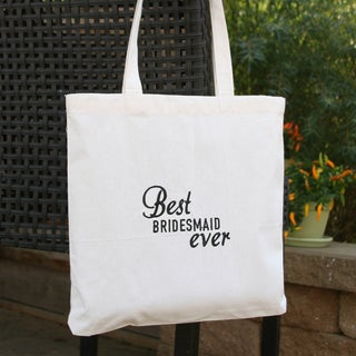 Black Cotton Best Ever Bridesmaid Party Tote Bag