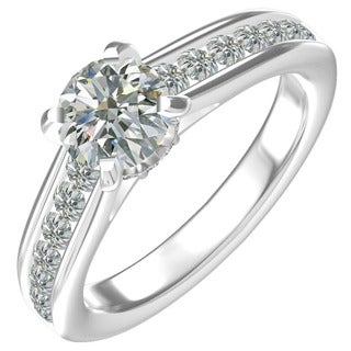 Sterling Silver 1-carat Round-center and 22 0.54-ctw Side-channel-set Cubic Zirconia Engagement Ring