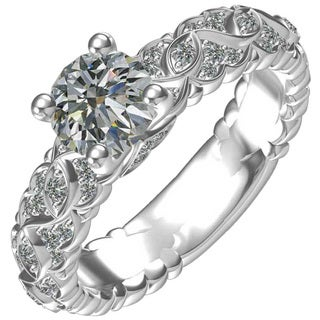 Sterling-silver 1-carat Center Cubic Zirconia 46 0.28-ctw Side Cubic Zirconia Ring