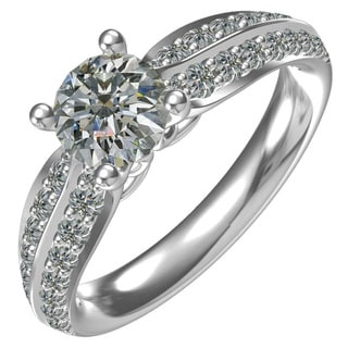 Ladies' Sterling Silver 1-ct Cubic Zirconia Round Center 0.58-ctw Side Cubic Zirconia Ring