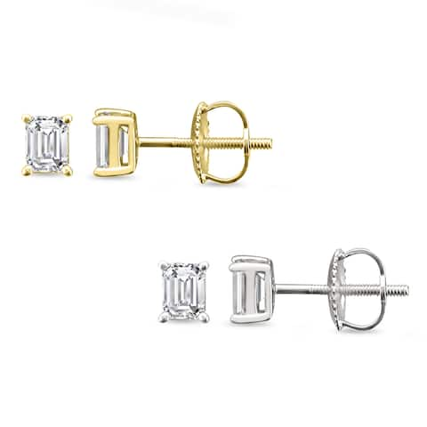 Montebello 14KT Gold 1/2ct TDW Emerald-cut Diamond Solitaire Earrings