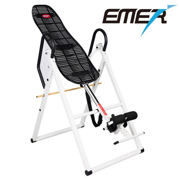 Emer Foldable Deluxe Gravity Fitness Therapy Inversion Table with Comfort ABS Backrest