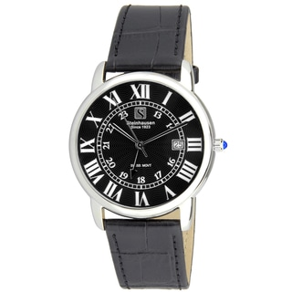 Steinhausen Men's S0719 Classic Delémont Swiss Quartz Stainless Steel Watch With Black Leather Band