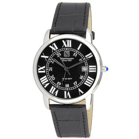 Steinhausen Men's S0719 Classic Delemont Swiss Quartz Stainless Steel Watch With Black Leather Band