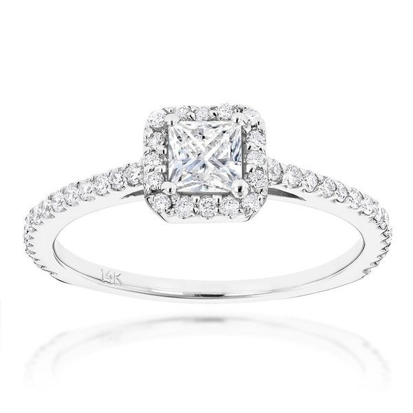Luxurman 14k Gold Unique 7/8ct TDW Diamond Engagement Ring
