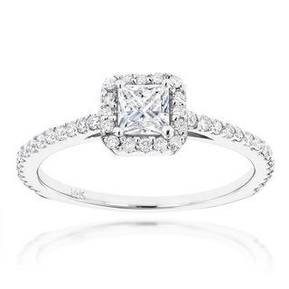 Luxurman 14k Gold Unique 7/8ct TDW Diamond Engagement Ring