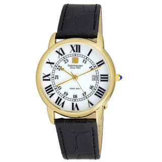 Steinhausen Men's S0720 Classic Delémont Swiss Quartz Gold-Tone Stainless Steel Watch With Black Leather Band|https://ak1.ostkcdn.com/images/products/14205572/P20799944.jpg?impolicy=medium