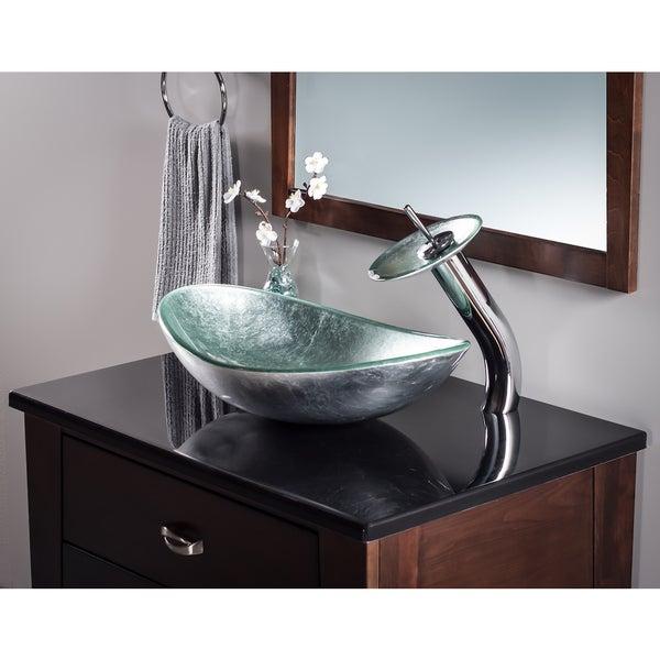 Novatto Argento Oval Glass Vessel Bathroom Sink Set, Chrome