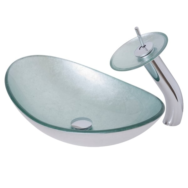 Chrome Novatto VERDAZZURRO Glass Vessel Bathroom Sink Set