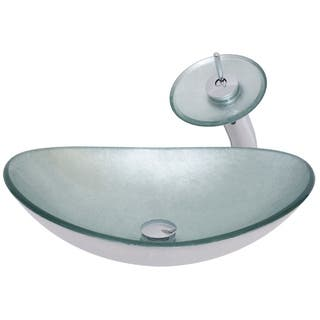Novatto Argento Oval Glass Vessel Bathroom Sink Set, Chrome|https://ak1.ostkcdn.com/images/products/14205574/P20799948.jpg?impolicy=medium