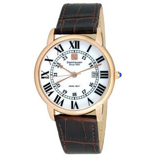 Steinhausen Men's S0721 Classic Delémont Swiss Quartz Rose Gold Stainless Steel Watch With Brown Leather Band|https://ak1.ostkcdn.com/images/products/14205578/P20799945.jpg?impolicy=medium