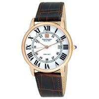 Steinhausen Men's S0721 Classic Delémont Swiss Quartz Rose Gold Stainless Steel Watch With Brown Leather Band