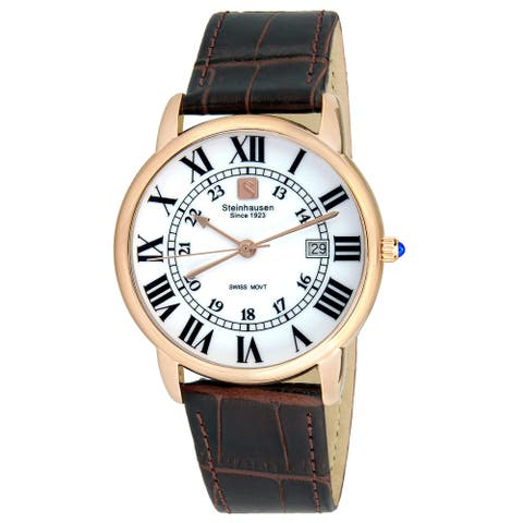 Steinhausen Men's S0721 Classic Delemont Swiss Quartz Rose Gold Stainless Steel Watch With Brown Leather Band