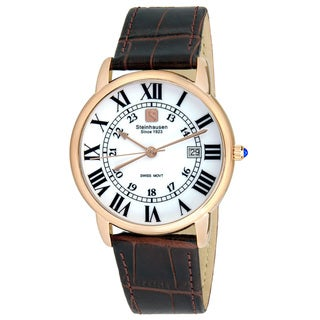 Link to Steinhausen Men's S0721 Classic Delemont Swiss Quartz Rose Gold Stainless Steel Watch With Brown Leather Band Similar Items in Men's Watches