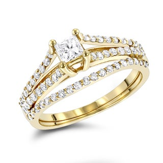 Luxurman 14K Gold Unique 3/5ct TDW Diamond Engagement Ring Set (H-I, SI1-SI12)