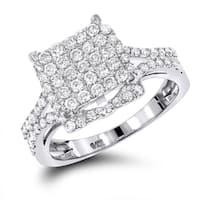 Luxurman 14k White Gold Pave 1 1/4ct TDW Diamond Engagement Ring