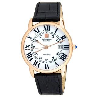 Steinhausen Men's S0722 Classic Delémont Swiss Quartz Stainless Steel Watch With Black Leather Band (Option: Black)