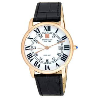 Steinhausen Men's S0722 Classic Delémont Swiss Quartz Stainless Steel Watch With Black Leather Band|https://ak1.ostkcdn.com/images/products/14205595/P20799949.jpg?impolicy=medium