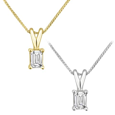 Montebello 14KT Gold 1/4ct TDW Emerald-cut Diamond Solitaire Necklace