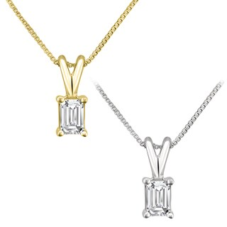 Montebello Jewelry 14k Gold 1/4ct TDW Emerald-cut White Diamond Solitaire Necklace