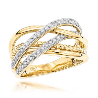Luxurman Right Hand Rings 14k Gold Unique 1/2ct TDW Diamond Ring (G-H SI1-SI12)
