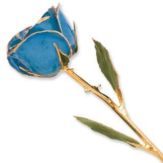 Lacquer Dipped 24k Gold Trim Blue Rose