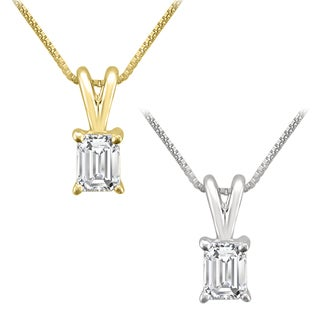 Montebello Jewelry 14k Gold 1/3ct TDW Emerald-cut White Diamond Solitaire Necklace (G-H, VS1-VS2)