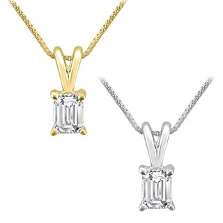 Montebello Jewelry 14k Gold 1/3ct TDW Emerald-cut White Diamond Solitaire Necklace