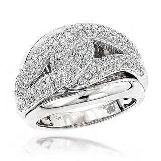 Luxurman Cocktail RIngs 14k White Gold Love Knot 1 1/4ct TDW Diamond Ring (G-H, VS1-VS2)