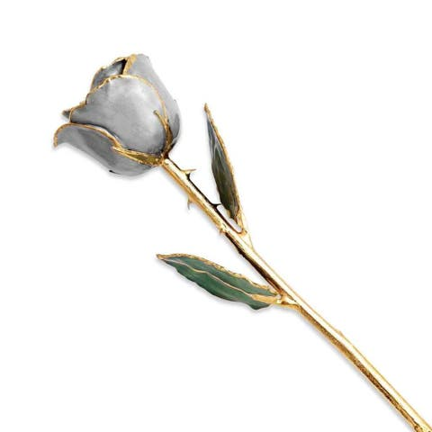 Lacquer Dipped 24K Gold-plated Trimmed Silver Moon Stone Rose by Versil