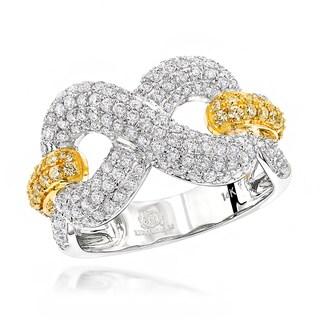 Luxurman Cocktail Rings 14k White Gold Unique 1 1/2ct TDW White Yellow Diamond Infinity Ring (G-H/ Yellow, SI1-SI2)