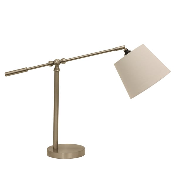 Adjustable Arm White Linen Steel/Metal Table Lamp