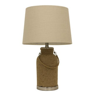 Decor Therapy Natural Rope and Brushed Steel Table Lamp