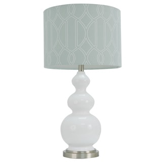 Decor Therapy 27-inch White Stacked Table Lamp with Grey Shade