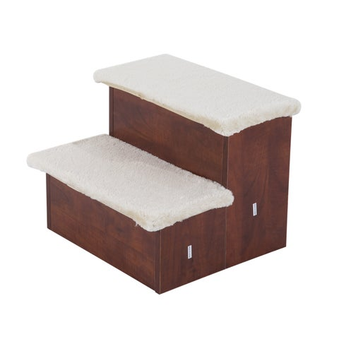 Pawhut Two Step Portable Pet Stairs with Storage Compartments - brown