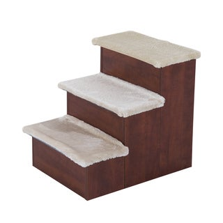 Pawhut Brown Three-step Portable Pet Stairs with Storage Compartment