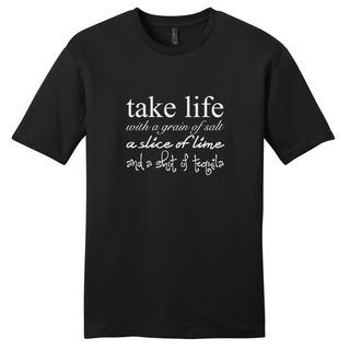 Take Life With a Grain of Salt' Funny Drinking Black Unisex T-Shirt