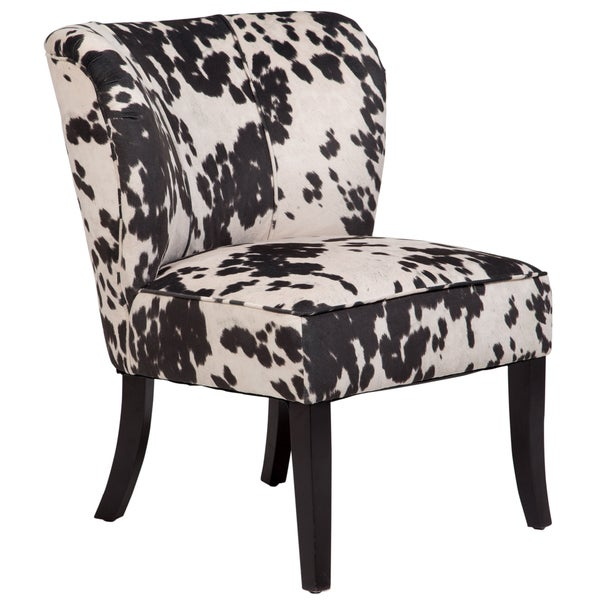 Shop porter mimi cow print microfiber contemporary retro accent chair free shipping today for Microfiber accent chairs living room