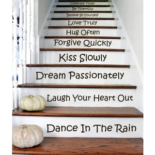 Stair Quotes Stairway Celebrate Today Be Thankful Believe Decal Home Staircase Sticker Decal size 22x30 Color Black