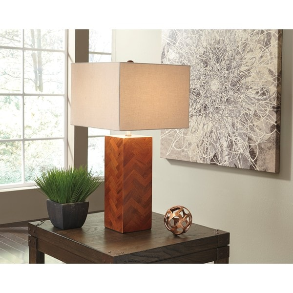 Signature Design by Ashley Tabeal Brown Wood Table Lamp