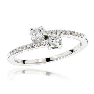Luxurman Love and Friendship Rings 14k White Gold 2/5ct TDW 2 Stone Diamond Ring (H-I, SI1-SI2)
