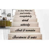 Stair Stairway Quote in Love With You Decor Staircase Sticker Decal size 22x30 Color Black