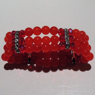 Red Glass Beaded Bracelet