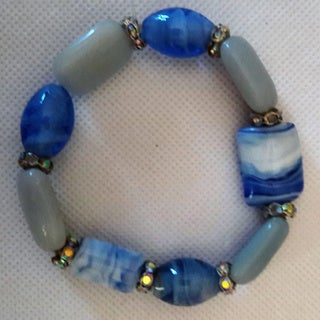 Blue Amazonite and Lampwork Glass Beaded Bracelet