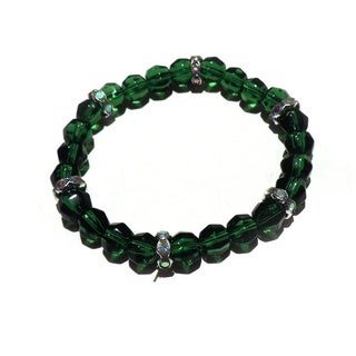 Emerald Green Glass Beaded Bracelet