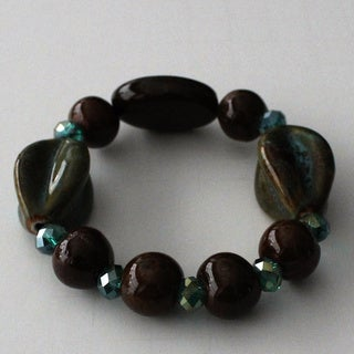 Fashion Green Ceramic Teal Crystal Beaded Bracelet