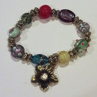 Multi-Colored Glass Beaded Bracelet